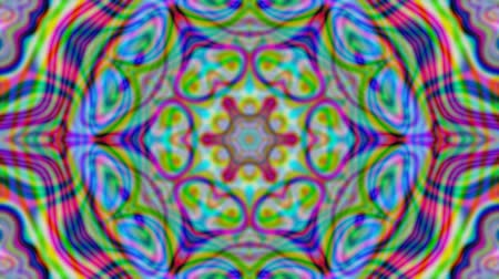 dairesel : Colorful kaleidoscopic iridescent beams. Geometric ornament. Live wallpaper background. TV show intro, blog opener, psychedelic hypnotic rhythm, holiday, event, music clip, vlog presentation footage. Stok Video
