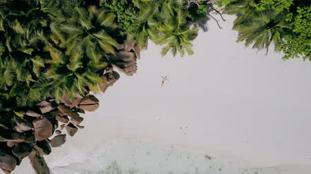 la digue island : 4k aerial view vertical move up footage from girl laying on a white sand beach surrounded by crystal clear turquoise shallow ocean lagoon water and amazing granite rocks on tropical La Digue island Stock Footage