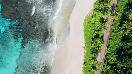 mahe : Aerial forward flight 4K drone of bizarre paradise tropical beach Anse Bazarca at Mahe island, Seychelles. Summer vacation, travel and lifestyle concept Stock Footage