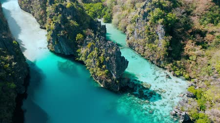 kano : Big lagoon, El Nido, Palawan, Philippines. Aerial view of emerald water, sharp cliffs and coral reefs. unique spot, top touristic destination and must-see place in the world