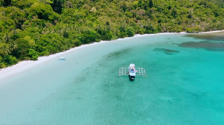 Aerial footage of island hopping tourist boat near tropical sandy beach in shallow turquoise blue Cadlao lagoon. El-Nido. Palawan. Philippines 動画素材
