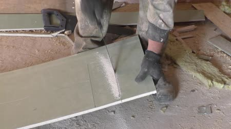 genişlik : Work saws plaster sheet saw Stok Video