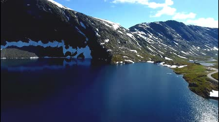 djupvatnet : Aerial footage on the nature of the lake Djupvatnet and mountains