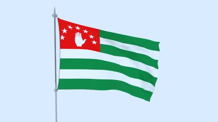 mastro de bandeira : Abkhazia. The flag of the country flutters against the blue sky. 3D rendering