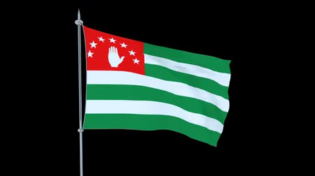 guyana : Abkhazia. Flag of the country flutters on black background. 3D rendering Stock Footage
