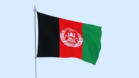 guyana : Afghanistan. The flag of the country flutters against the blue sky. 3D rendering Stock Footage