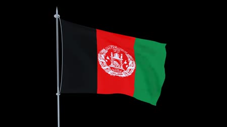 guyana : Afghanistan. Flag of the country flutters on black background. 3D rendering Stock Footage
