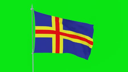 mastro de bandeira : Flag of the Aland Islands flutters on green background. 3D rendering