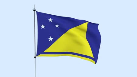 mastro de bandeira : Flag of the country Tokelau flutters against the blue sky. 3D rendering