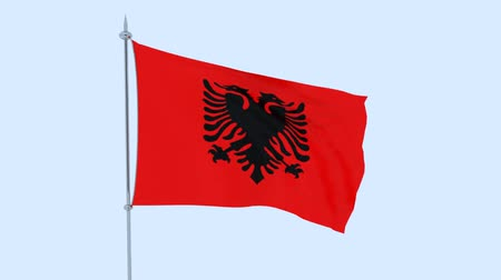 albanie : Flag of the Albania flutters against the blue sky. 3D rendering