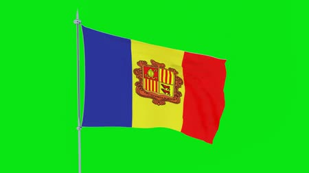 zuidpool : Flag of the country of Andorra flutters on green background. 3D rendering Stockvideo