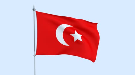 guyana : Flag of Turkey flutters against the blue sky. 3D rendering Stock Footage