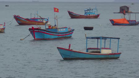 hoi an : Vietnamese boats in a sea sunset. Nha Trang, Vietnam travel landscape and destinations. Stock Footage