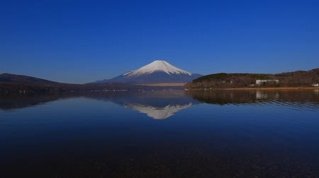 fujiyama : Inverted image of Mt.Fuji of Blue Sky clear weather from Lake Yamanakako Hirano Japan wide angle panorama 03  14  2018