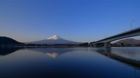 inverted : Mt. Fuji in the Morning with blue sky fine weather from the Ubuyagasaki in Lake Kawaguchi Japan 04  10  2018