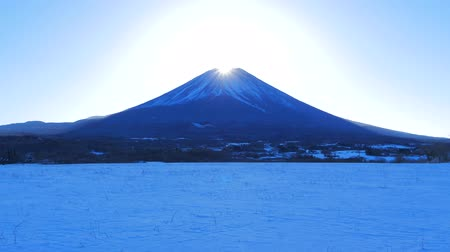fujiyama : Diamond Mount Fuji Snowy scenery from Fujigane Yamanashi Prefecture Japan 4 k mp4 02  02  2019 Stock Footage