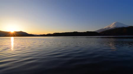 mt : Sunrise and Mt. Fuji from Lake Kawaguchi Japan 03  09  2019 Stock Footage