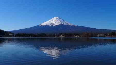 japonya : Mt. Fuji of Clear Blue Sky from Ubuyagasaki Lake Kawaguchi Japan 03122020 4k.mov Stok Video