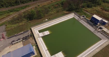 clarifier : Treatment facilities at the plant,view from above Stock Footage
