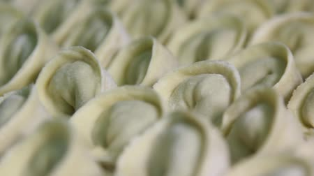 meat pockets : Dumplings with meat lie in rows on a tray, close-up, the camera moves from left to right Stock Footage