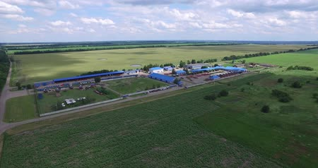 kombajn : the area of agro-industrial complex of technical buildings, fields planted with different crops
