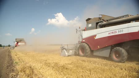 kombajn : harvesters go on the field with the wheat