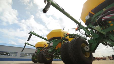 kombajn : the trailer combines with the screw tubes are parked for agricultural machinery