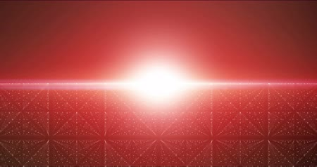 elegancia : Infinite space looped background. Matrix of glowing stars with illusion of depth and perspective. Abstract fiery sunrise over cyber sea. Futuristic universe on dark red background. 4k UHD
