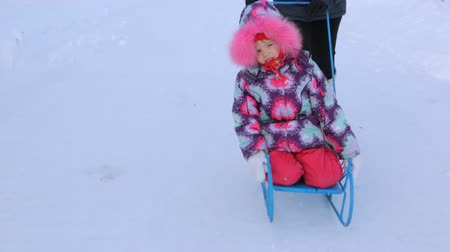 そり : Woman pushing sled with small girl in winter 動画素材