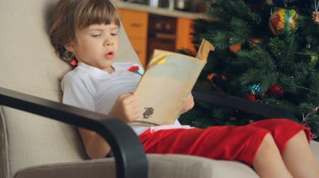 el : Small girl reading a book in front of Christmas tree