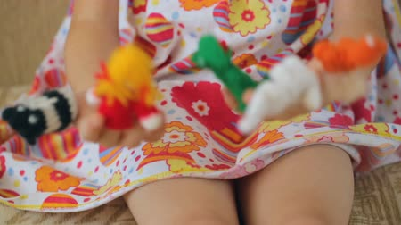 knitted : Finger puppets on childs hands Stock Footage