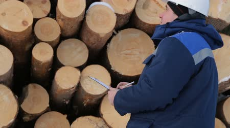 kontrol listesi : Worker with tablet against pile of logs