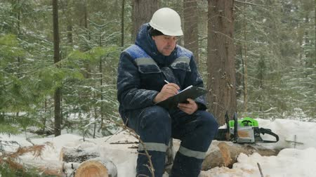 kontrol listesi : Worker with tablet working in winter forest