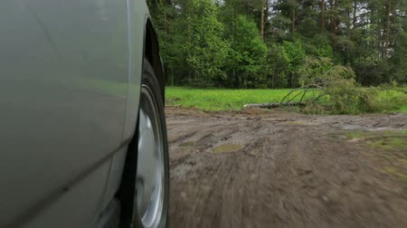 fender : Driving on rural road in the field Stock Footage