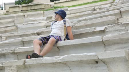 archeological : Tourist in antique stadium