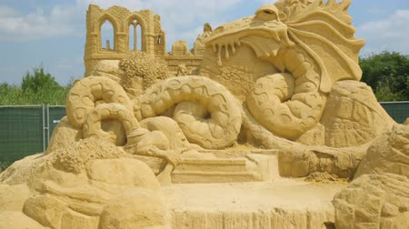 bułgaria : BURGAS, BULGARIA - JULY, 2018: Annual sand sculpture exhibition