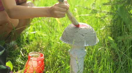 agaric : Little girl coloring garden decoration