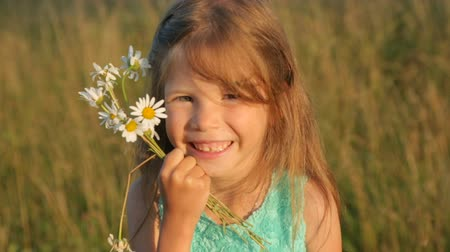 margaréta : Little girl with camomile flowers by sunset light