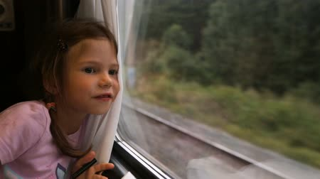 rekesz : Little girl looking through the window in the train
