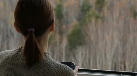 autumn forest : Woman drinking tea at the window Stock Footage