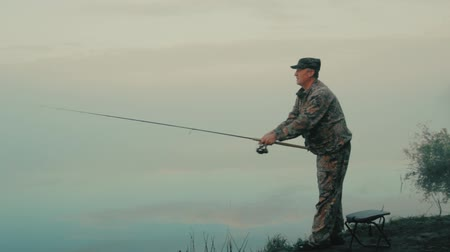 cast : Spinning on fishing Stock Footage