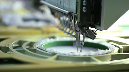 production tool : Close- up of Machine embroidery is an embroidery process whereby a sewing machine or embroidery machine is used to create patterns on textiles