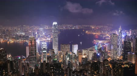 paisagem urbana : 4k Time-lapse of Hong Kong city at night, view from The Peak