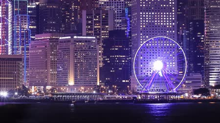 központi : Time-lapse of Night cityscape and ferris wheel, Hong Kong