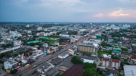nakhon : Nakhon Ratchasima , Thailand - May 20,2018 : day to night timelapse of Aerial view of Nakhon Ratchasima city or Korat at sunset, Thailand