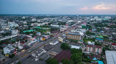 sudeste : Nakhon Ratchasima , Thailand - May 20,2018 : day to night timelapse of Aerial view of Nakhon Ratchasima city or Korat at sunset, Thailand