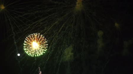 čtvrtý : slow-motion of beautiful fireworks celebration at night