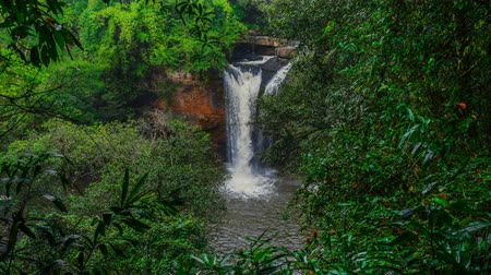 nakhon : time lapse of Haew Suwat Waterfall in Khao Yai National Park, Thailand