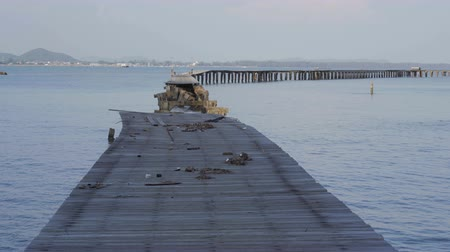 baltık denizi : broken wooden bridge to the sea (damage from storm) at Rayong,Thailand