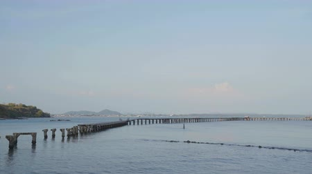 baltské moře : broken wooden bridge to the sea (damage from storm) at Rayong,Thailand